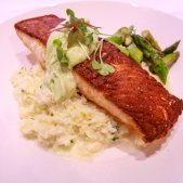 Atlantic salmon risotto